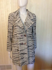 St. John Long Sweater Jacket Blazer Coat Black White Mix Size 6