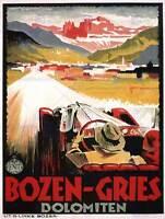 TRAVEL BOZEN-GRIES DOLOMITE TYROL MOUNTAIN ALPINE ITALY VINTAGE POSTER 2320PY