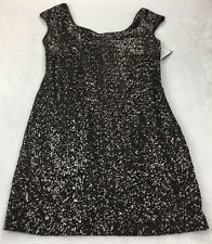 MUSE Women's Size 8 Sequin Cocktail Dress Brown Cut Out Back Cap Sleeve NWT