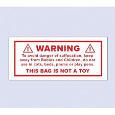 Adhesive labels Warning This Bag is not a Toy Pack of 50 Labels