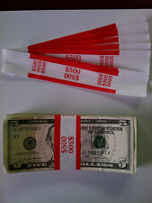 1000 - New Self-Sealing Currency Bands - $500 Denomination - Straps Money Fives