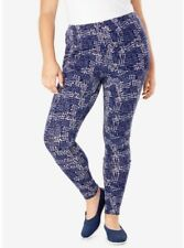 New in Package WOMAN WITHIN Size 2X 26/28 Legging Pants Navy Bubble Dot Print