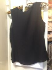 Giorgio Armani black silk sleeveless chiffon top IT 38