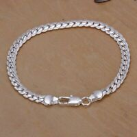 5mm 925 Sterling Solid Silver Cuban Curb Link Bracelet Chain Bangle 8 Inches