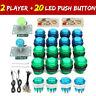 LED Arcade Game DIY Player USB Controller Joystick LED Light Push Button Switch