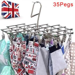 35 Pegs Stainless Laundry Socks Washing Clothes Airer Dryer Rack Hanger Clips UK