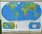 "New 74"" Rand McNally School pull Roll Down Map Political 3 in 1 World/USA/Alaska"