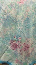 """""""""""Blue And Purple Watercolor Flowers"""""""" - Vintage Scarf - Italy"""