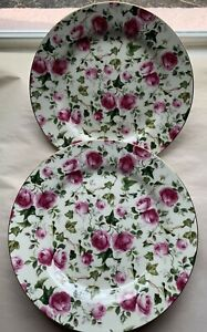 """Set (4) FORMALITIES by Baum Bros 7.5""""  Chintz Plates Pink Roses"""