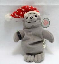 "Collectible 1997 Coca-Cola Gray Bean Bag Plush 9"" Christmas Seal w/ Tag"