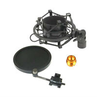 Metal Microphone Shock Mount Pop Filter Mic Holder Clip connector adapter