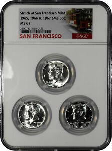 1965 1966 1967 SMS 50c Kennedy Half Dollar Set NGC MS 67 San Francisco Struck
