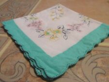 BEAUTIFUL VINTAGE LADIES HANDKERCHIEF SEE PHOTOS FOR COLORS 11X11 H3