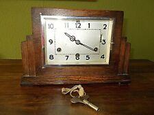 Vintage Art Deco Style Oak Mantel Westminster & Whittington Chiming Clock & Key