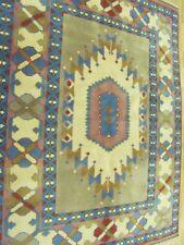 A BRILLIANT OLD HANDMADE KARZ TURKISH WOOL ON WOOL RUG (192 x 157 cm)
