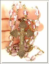 UNIQUE ANTIQUE 1920's PURPLE CRYSTAL HOLY ROSARY & 14 STATIONS of CROSS CRUCIFIX
