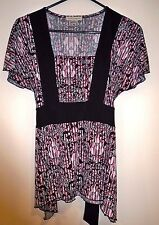 Susan Lawrence Women's Pullover Striped Top Ties in Back Stretchy Size Medium