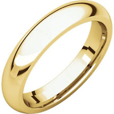 Round Comfort Fit Wedding Band Size 7 4mm 10K Solid Yellow Gold Plain Dome Half
