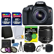 Canon EOS Rebel T6 SLR Camera + 18-55mm Lens + 64GB + Dummies Book + Case + More