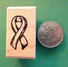 Awareness/Memorial Ribbon Rubber Stamp, Plain, wood mounted
