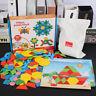 250Pcs Kids Wooden Pattern Blocks Set Geometric Shape Puzzle Jigsaw Toddler