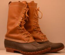 "Women's LL Bean 11"" Tall Brown Leather Waterproof/rain Duck Boots Size 10 M  USA"