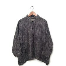 ESKANDAR Jacket 0 Gray Tweed Cotton Coat Button Down Women's Lagenlook VTG Tunic