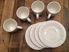 "RARE Set 4 Cups + Saucers ""Sauvignon"" China by S.H.I.- Handmade, Fruit Embossed"