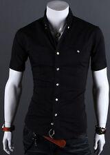 Fashion Men's Slim Fit Short Sleeve Shirt Tops Tee Casual Formal Dress Shirts US