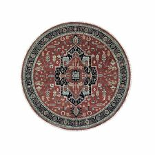8'x8' Round Red Pure Wool Hand Knotted Tribal Oriental Rug R47961