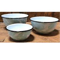 New Enamel Splatter Ware Set of 3 Nesting Mixing Serving Bowls White Jade Swirl
