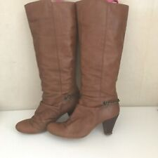 Dune tan leather knee high boots in size 7 (40)