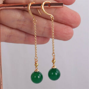 12MM green agate beads Earrings Dangle 18KGP Chain Ms gift Lucky FOOL'S DAY