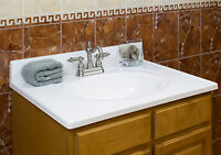 """25""""Wx19""""D Vanity Top Cultured Marble Flush Oval Bowl by LessCare"""