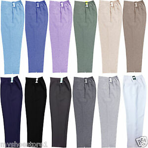 WOMENS TROUSERS LADIES HALF ELASTICATED STRETCH WAIST WORK OFFICE POCKETS PANTS