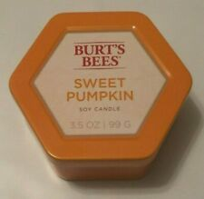 New Burt's Bees Sweet Pumpkin 2 Wick Soy Candle 3.5 oz. Up to 15 Hour Burn
