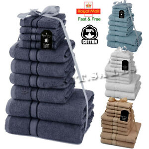10 Pieces 100% Egyptian Combed Cotton Towels BALE Set Soft Face Hand Bath Towels