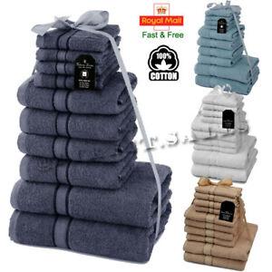 10 Pieces 100% Egyptian Combed Cotton Towels BALE Set Soft Face Hand Bath Towels