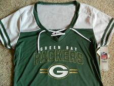 Green Bay Packers womens Medium green & white jersey top w/gold glitter accents