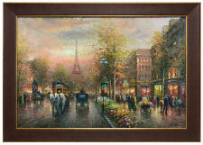 Large framed fine quality canvas art - oil painting of Paris street - 2 frames