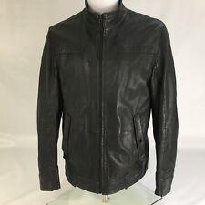 Hugo boss orange leather jacket large Black bomber Harrington RRP £500