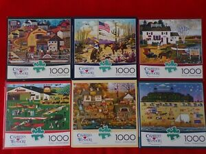Lot of 6 Charles Wysocki 1000 Piece Buffalo Jigsaw Puzzles -5 Large Pictures