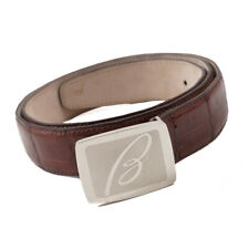 New $1225 BRIONI Red-Brown Genuine Crocodile Belt with Monogram Buckle 36