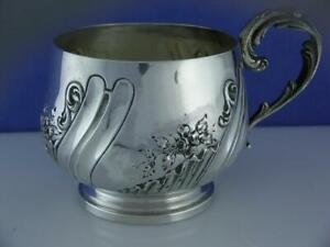 Wonderful French 950 Sterling Silver Cup w/ floral & scroll patterns