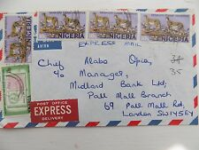 5 Nigeria Stamps Envelope Posted to Chief Alabo Opia Midland Bank London 1973?