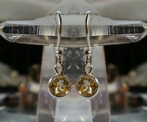 315g Citrine Solid 925 Sterling Silver 6mm Faceted Gemstone Earrings rrp$36.00