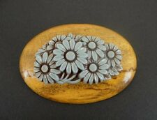 Vintage Blue Plastic Flowers with Wood BROOCH Pin