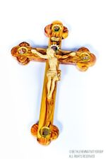 Hand Crafted Olive Wood Cross From The Holy Land (With Soil,Rocks,Incense,leafs)