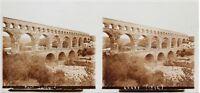 Pont Del Gard Francia Placca Lente Stereo 6x13cm Vintage