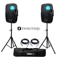 "Evolution Audio RZ12A V3 Active 2000W 12"" DJ Disco PA Speaker (Pair) with Stands"